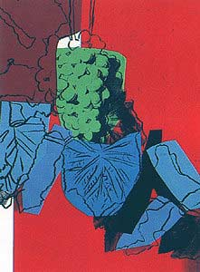 Andy Warhol Grapes 1979 Screenprint with green grapes blue leaves and red background FS 194