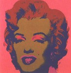 andy warhol marilyn monroe screenprint in pink and gold